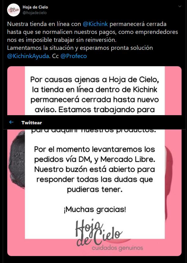 Screenshot_2019-11-04 Hoja de Cielo en Twitter Nuestra tienda en línea con Kichink permanecerá cerrada hasta que se normali[...]